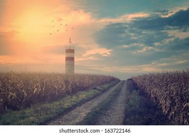 Vintage photo of lighthouse