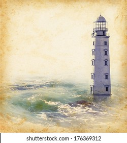 Vintage photo of lighthouse tower. Nautical texture background with a lighthouse for the retro concept of sea vacation. Nautical landscape - marine skyline with old lighthouse.