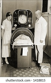 Vintage photo of a Man In Iron Lung
