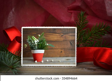 Vintage photo of natural Christmas decoration