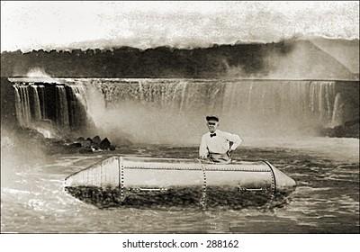Vintage photo of a Niagara Falls Daredevil