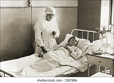 Vintage photo of a Nurse Checking Patients Vital Signs