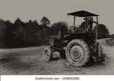 vintage photo of an old abandoned tractor