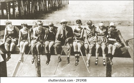 Vintage photo of People Fishing Off A Pier With Homemade Rods