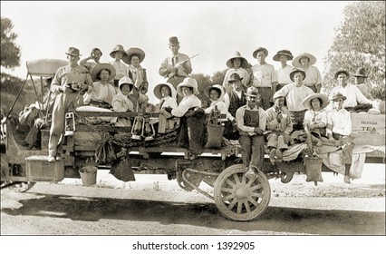 Vintage photo of People Sightseeing On a Truck