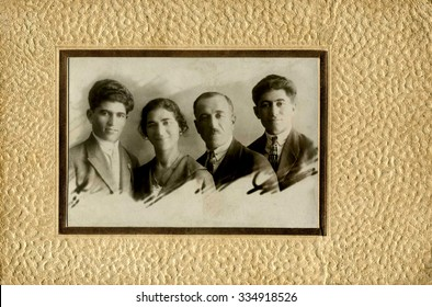 A vintage photo portrait from 1957 of Armenian family.