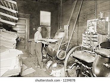Vintage photo of a print shop