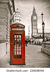 Vintage photo of red telephone box and Big Ben.