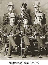 Vintage photo of a Six Guys In Top Hats With Canes
