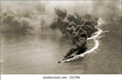 Vintage Photo of Smoke Billowing From Ship