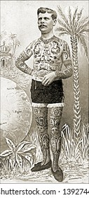 Vintage photo of a Tattooed Man