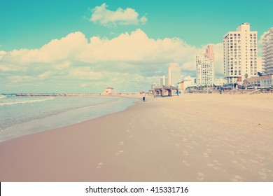 Vintage photo of Tel-Aviv beach view (Mediterranean sea. Israel). Toned colors photo