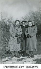 Vintage photo of three women (forties)