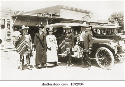 Vintage photo of  Tourists Next To Car In Tijuana