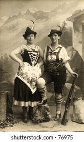 Vintage photo of two women dressed in alpine costumes
