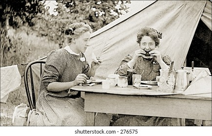 Vintage Photo of Two Women Eating Outdoors