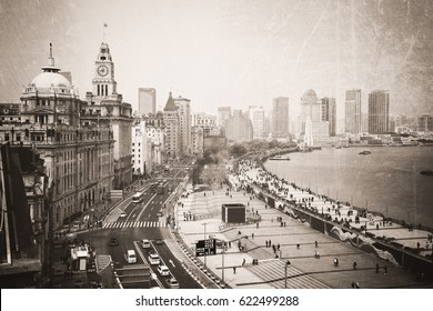 Vintage photo of a view along the Bund in Shanghai, China.