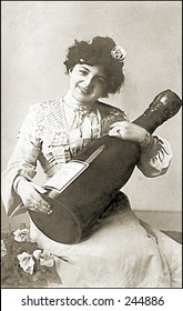 Vintage Photo of a Woman With Huge Bottle Of Wine
