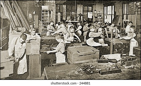 Vintage Photo of a Workshop With Young Boys Working