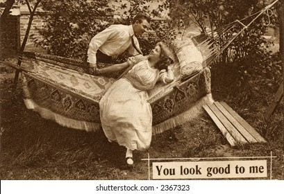 Vintage photo of a young couple in a hammock