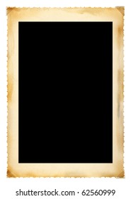Vintage photographic deckle edged picture frame, large border, free copy space