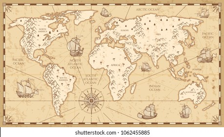 Ancient world images stock photos vectors shutterstock vintage physical world map with rivers and mountains illustration retro vintage old world map with gumiabroncs Gallery