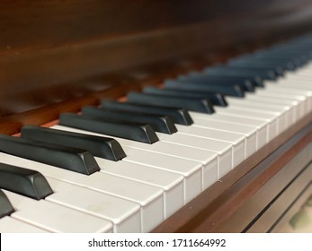 Vintage piano keyboard, vintage instrument