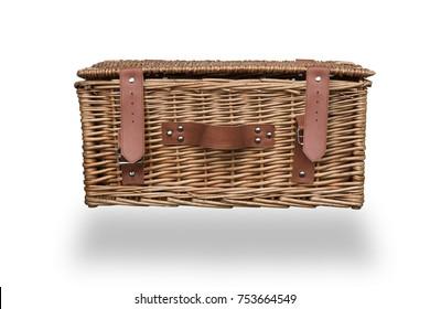 vintage picnic basket isolated on white
