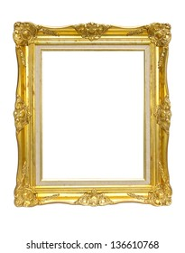 vintage picture frame, gold plated, white background