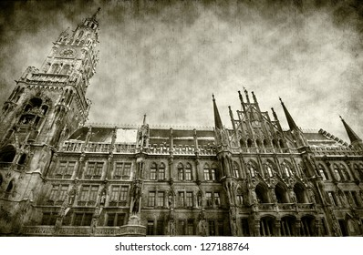 vintage picture of New Town Hall in Munich, Germany