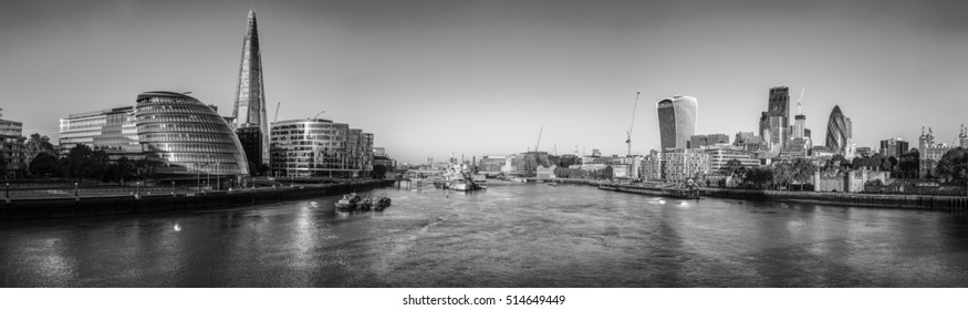 Vintage picture of view of the London skyline from the Tower Bridge