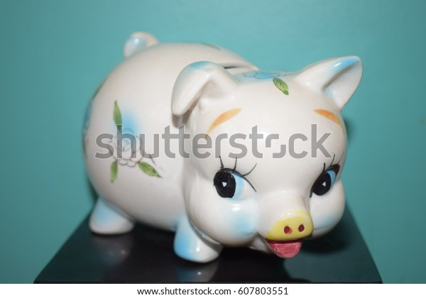 Vintage Piggy Bank Stock Photo Edit Now 607803551
