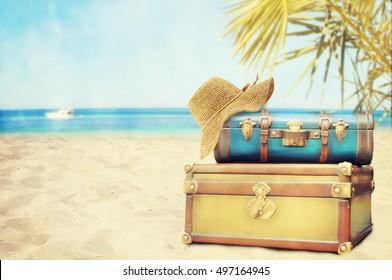Vintage Pile Ancient Suitcases