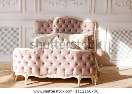 Vintage Pink Bed Pillows Stands On Stock Photo (Edit Now) 1112168708 ...