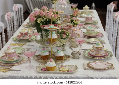 Vintage pink and gold afternoon tea party - bridal shower