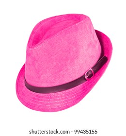A vintage pink hat on white background