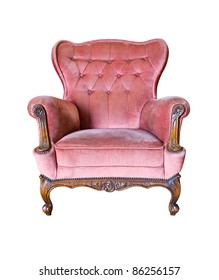 vintage pink luxury armchair isolated with clipping path