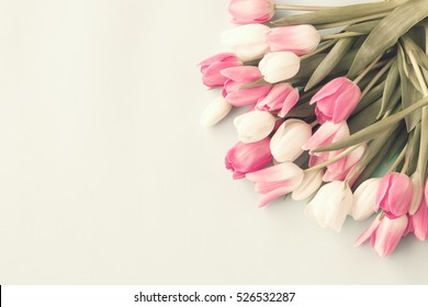 Vintage pink and white tulips
