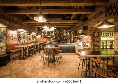 Vintage pizzeria interior