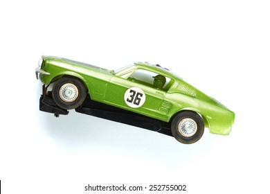 Vintage plastic model of racing car with electric wire connection under the car represent the famous toy in year of 1980s