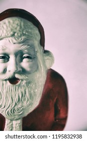 Vintage plastic Santa Claus decoration - filtered retro look