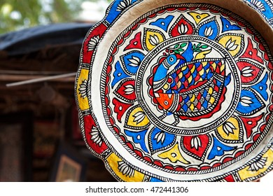 Vintage Plate on wooden background in Bali village