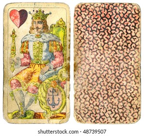 Vintage playing cards - king and heart - isolated with clipping path - XL size