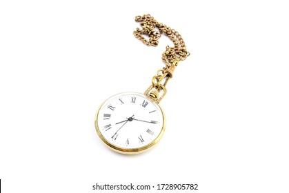 Vintage pocket watch on a white background