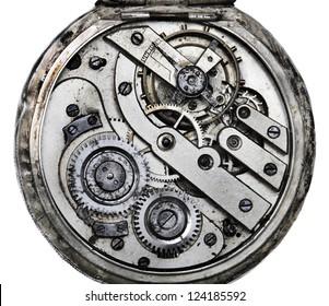 Vintage pocketwatch mechanism closeup