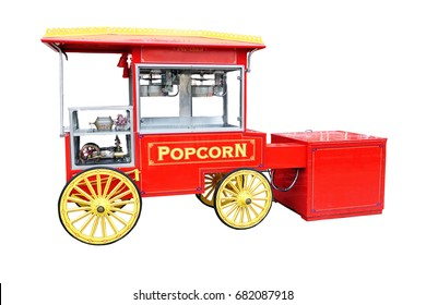 Vintage popcorn sale cart isolated on a white background