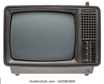 Vintage portable black and white CRT TV receiver isolated on white background. Retro technology concept