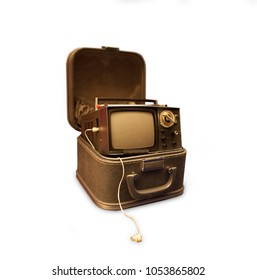 A vintage portable micro tv from the early sixties in a case