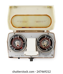 vintage portable tape recorder isolated