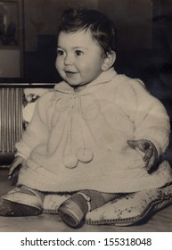 Vintage portrait of beautiful baby in 1958